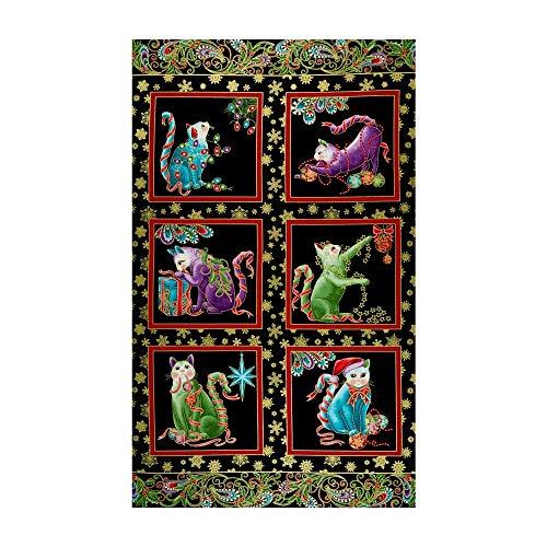 Benartex Cat-I-tude Christmas Cat-I-tude Holly Panel Black/Multi Quilt Fabric