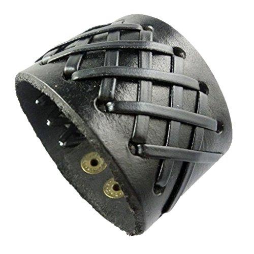 Non-brand Hecha a Mano de Doble Capa Punk PU Cuero Trenzado Brazalete Correa Pulsera de Motorista - Negro, 22,5 x 4 cm