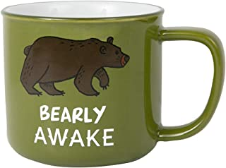 Pavilion Gift Company Large 17 Oz Stoneware Coffee Cup Mug Bearly Awake, Green
