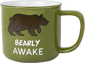 Pavilion Gift Company Large 17 Oz Stoneware Coffee Cup Mug Bearly Awake, Green
