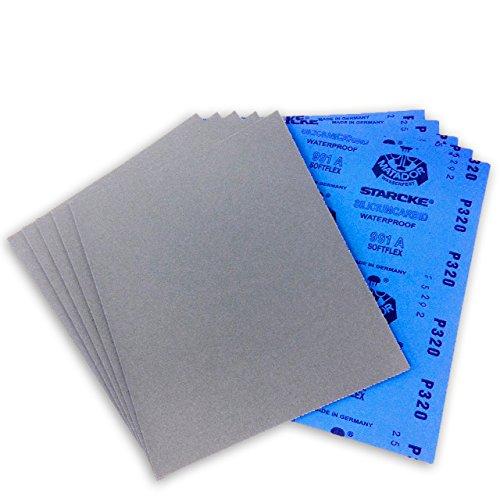 9 X 11 Inch 320 Grit Premium Waterproof Starcke Matador Sandpaper Sheets, 50 Pack
