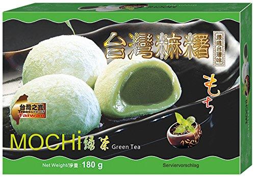 AWON Mochi, grüner Tee, Klebreiskuchen mit Grüner Tee-Geschmack, 7er Pack (7 x 180 g)