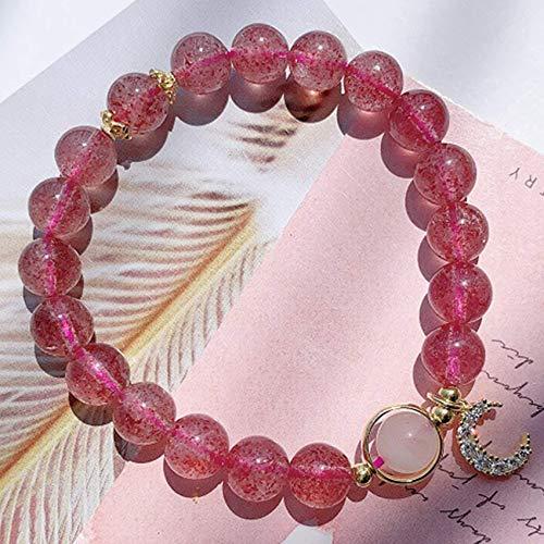 JIACUO Fashion Gift,Feng Shui Wealth Crystal Bracelet Natural Strawberry Quartz Rose Quartz Transfer Bead 14K Gold Moon Bracelet Stretchy Bangle Amulet Attracting Wealth,16.5CM