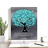 Turquoise Tree on Silver, 10 Year Anniversary Gift, Personalized Gift for Him, Wedding Tree, Custom Art Print on Paper, Canvas or Metal #1265