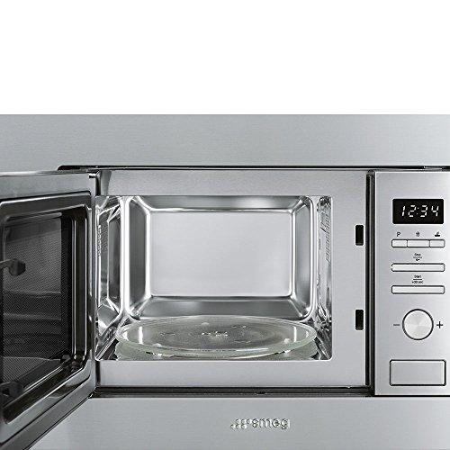 Smeg FMI020X Integrado - Microondas (Integrado, Microondas con grill, 17 L, 800 W, Botones, Giratorio, Acero inoxidable)