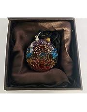 Orgonite Pendant 7 Chakra Layered Orgone Gemstone Disc Reiki Spiritual Energy - Self Confidence – Positivity- Emotional Body Purification