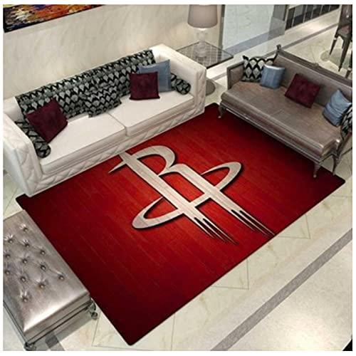 HFDSG Alfombra Personalidad NBA Rockets Equipo De Baloncesto Dormitorio Sala De Estar Habitación De Niños Balcón Minimalista Moderno Piso De Terciopelo Corto Rectángulo Salvaje