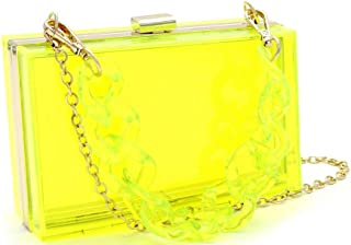 Neon Transparent Clear Acrylic Plastic Hard Frame Party Clutch Purse Chain Strap