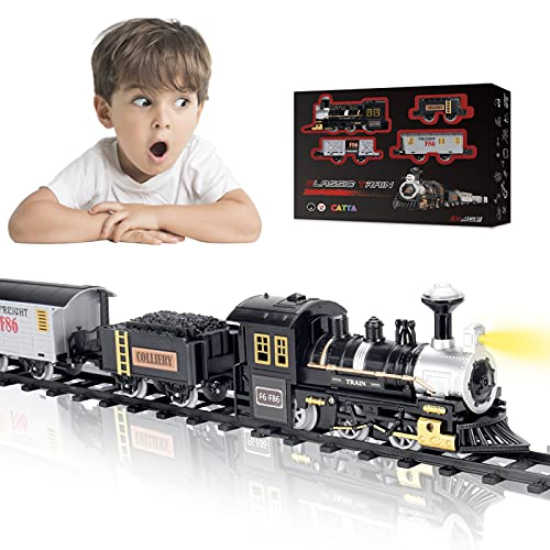 Train Set, CATTA Electric Toy Train Set for Boys Girls with Light & Sound, Christmas Gift Train Tracks Set for 3 4 5 6 7 8+ Year Old Kids