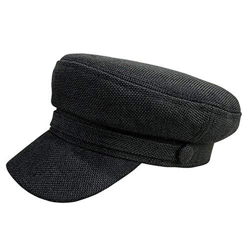 WEIZI Sun Fashion Unisex Lino Sombrero Militar Otoño Sombreros de Marinero para Mujeres Hombres Tapa Plana Capitán Cap Travel Cadet Hat Navy Caps, Black, XXL