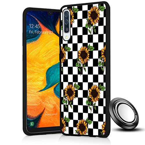Galaxy A50 Case, Checkerboard Sunflower Slim Anti Scratch Shockproof Silicone Soft Rubber TPU Protective Case Cover with Phone Ring Holder Stand for Samsung Galaxy A50 2019 6.4 Inch