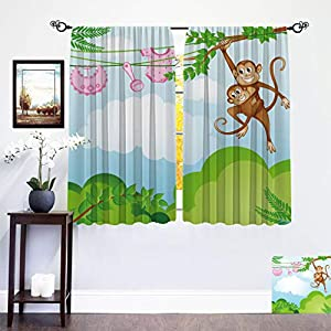 Nursery Blackout Curtains, Monkey Swinging with the Kid Baby Clothes Chimpanzee Jungle Joy Togetherness Window Treatment Set for Nursery Living Room, Each Panel 27.5″W x 45″L Green Brown Pink
