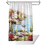 BQEE Duschvorhang, wasserdicht, Badezimmervorhang, Digitaldruck, mit 12 Haken, Polyestergewebe, 180 x 180 cm (Ölgemälde)