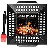 Pomeat BBQ Vegetable Grill Basket, Heavy Duty Veggie Grilling Baskets for Outdoor Grilling, Quality Carbon Steel, Non-Stick Grill Basket for Veggies, Kabobs, Seafood, Meats (Large 12x12x3 inch)