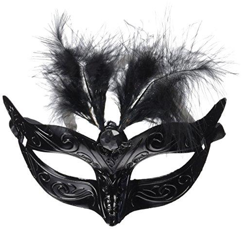 Creative Masque Yeux métallique avec Plumes Bla