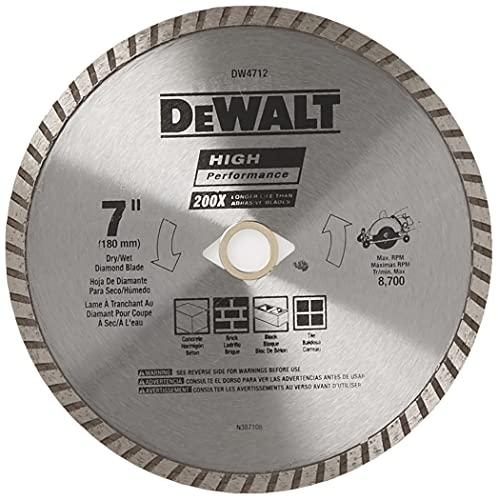 DEWALT Diamond Blade for Masonry, 7-Inch (DW4712B) , Silver