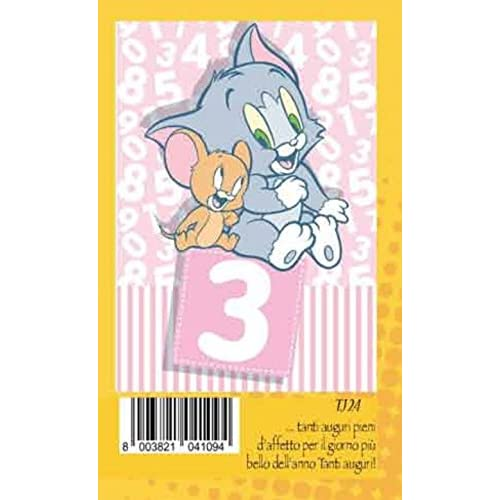 Marpimar Biglietto Auguri Compleanno 3 anni rosa bambina JERRY warner bros