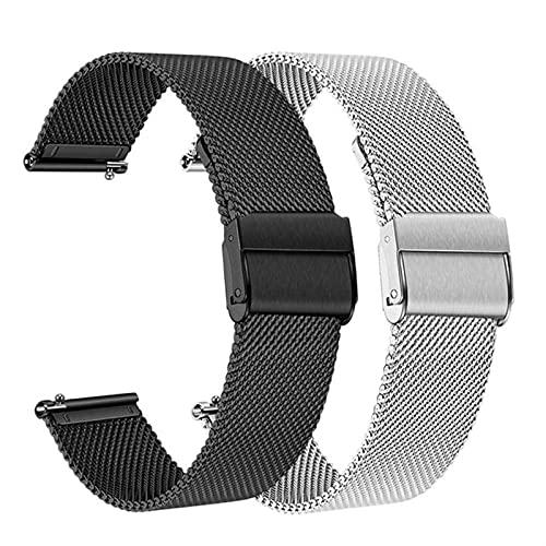 WWXFCA 2 correas de acero inoxidable de malla y soild de 20 mm para Samsung Galaxy Watch 42 mm/Active 40 mm/Gear S2 Classic/Gear Sport Band (Color de la correa: F, ancho de la correa: activo 40 mm)