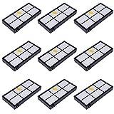 MIRTUX Pack 9 filtros compatibles con Roomba 800 y 900. Kit de repuestos de Filtro Serie 8 y 9. Recambio de reemplazo con nueve filtros hepa.