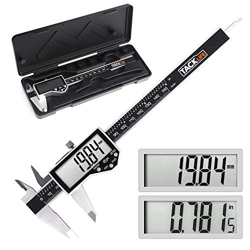 Digital Caliper, TACKLIFE Vernier Caliper(150 mm / 6 inch) for diameter measure,0.01mm Precion,Mm/Inch Conversion,Electronic Caliper with Extra-Large LCD of Stainless Steel,IPX54 Waterproof-DC04