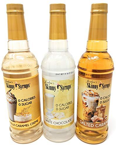 Jordans Skinny Syrups Sugar Free Trio - White Chocolate, Vanilla Caramel Creme, Salted Caramel 25.4 oz. - Gluten Free - Kosher - Made in the USA - 3 Bottle Bundle