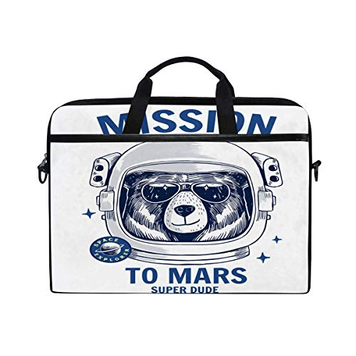 Laptop Sleeve Case,Laptop Bag,Bear Astronaur to Mars Water Briefcase Messenger Notebook Computer Bag with Shoulder Strap Handle,29×40 CM/15.6 Inch