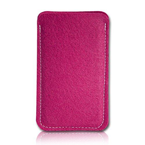 sw-mobile-shop Filz Style Wiko Riff Premium Filz Handy Tasche Hülle Etui passgenau für Wiko Riff - Farbe pink