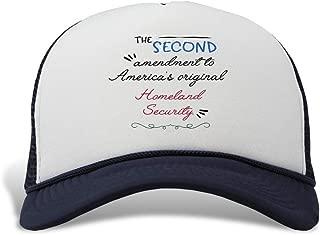Trucker Hat The Second Amendment America's Original Homeland Security. Polyester Baseball Mesh Cap Snaps Navy One Size