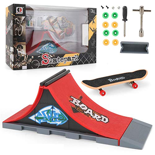 LOVOICE Kit de rampa para monopatín, mini dedo, monopatín y rampa, juego de rampa para niños, juguete de regalo, mini diapasones de dedo para principiantes.