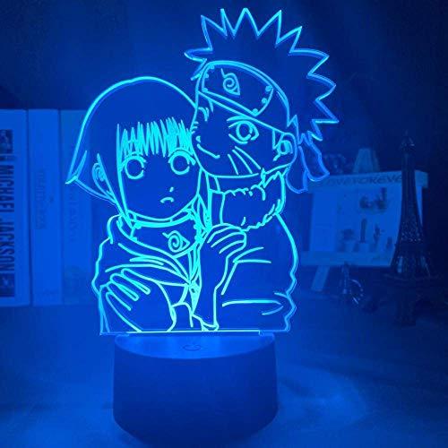 Luz De Ilusión 3D Luz De Noche Led Niña Uzumaki Naruto Y Hinata Hyuga Que Cambia De Color Decoración De La Sala De Estudio En El Hogar Lámpara De Mesa De Regalo De Animación Usb