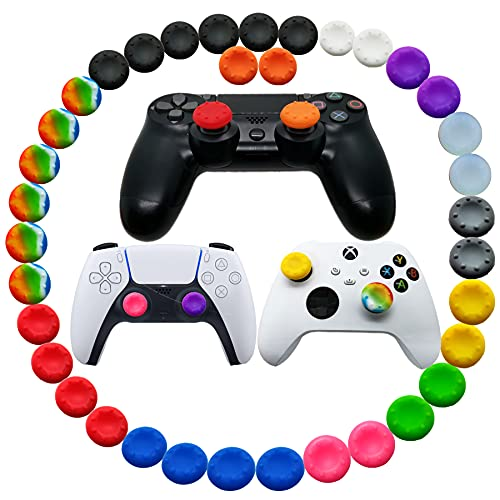 30pcs Joystick Grip for Ps5 Ps4 Controller, Silicone Thumb Grips Caps Cover Analog Stick for Playstation 5, Playstation 4 Controller, Xbox 360, Xbox One Controller