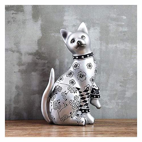 1pcs Elegant Gesneden Kat, Leuke Creative Cat Handgemaakte Resin Cat Ornamenten Beeldje, Handgemaakt Standbeeld Best Gift Christmas Gift (Color : B)