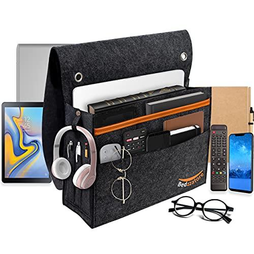 Bedzzatore Bedside Organiser Pocket - Slip Resistant with Hook & Loop and Watch Straps for Bed Rails, Sofa, Bunk Bed - Felt Bedside Storage Caddy for Books, Glasses, Phone, Tablet, Remote - Dark Grey
