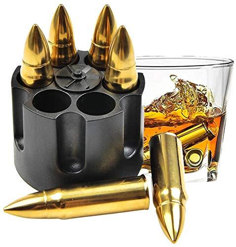 BUYGOO Edelstahl Whisky Steine Bullets mit Basis - 6Pcs Wiederverwendbar Metall Eiswürfel Große Kugelförmig Eiswürfel, Whiskey Zubehör Geschenk für Männer