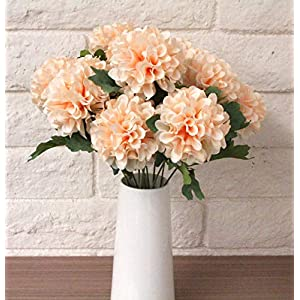 Modern Pompom Blush Dahlia Bouquet Bush Bundle Artificial Flower Head Craft Home Wedding Floral Faux Arrangements Greenery