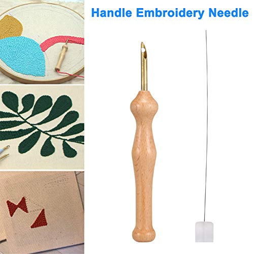 Syfinee Wooden Handle Embroidery Pen Punch Needle Set Craft Needlework Stitching Kit Magic Embroidery Pen Punch Needle Felting Threader Set Wooden Handle Table Cloths Craft Tools DIY Sewing