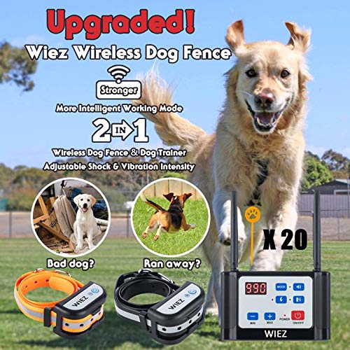 WIEZ Wireless Dog Fence Electric & Training Collar 2-in-1, Dual Antenna, Adjustable Range 100-990 ft, Adjustable Warning Strength, Rechargeable,Pet Containment System,Harmless (2 Collar + 20 Flags)