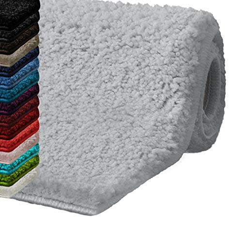 Badematte Hochflor Sky Soft | Weicher, Flauschiger Badezimmerteppich in Shaggy-Optik | Badvorleger rutschfest waschbar | schadstoffgeprüft | 16 Farben in 6 Größen (80x150 cm, Silbergrau)