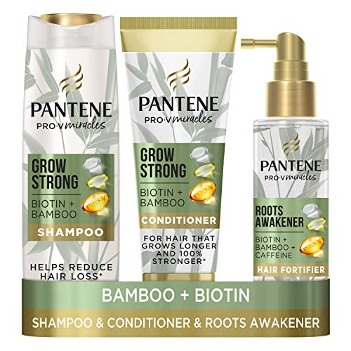 Pantene Grow Strong with Biotin, Bamboo, Caffeine and Vitamin B3, A Hair Loss Treatment Set with Hair Growth Shampoo, Hair Conditioner and Hair Fortifier to Provide Strength & Thickness