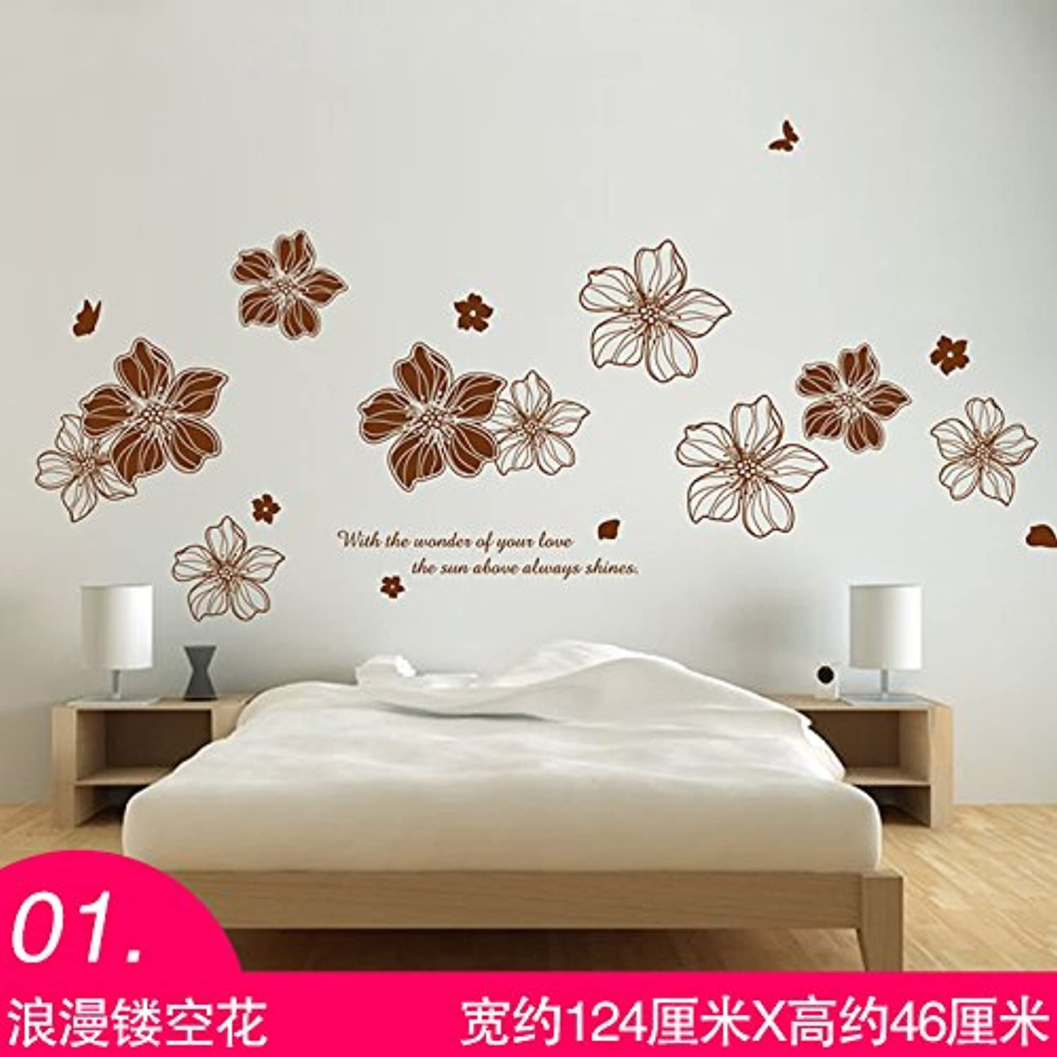 Znzbzt Bedroom Wall Sticker Art Wall Paper Wall Decoration 3D self Adhesive Wallpaper, Exposed Flower