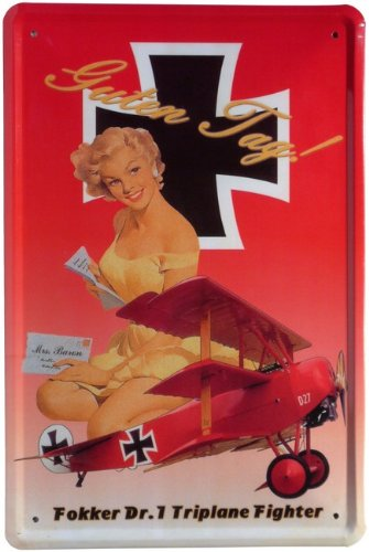 Metalen bord Fokker Dr.1 Triplane Fighter vliegtuig 20 x 30 cm reclame retro blik 241