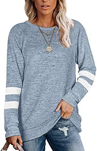 Herbstliche Damen LangarmnäHte Rundhalsausschnitt LäSsig Bedrucktes T-Shirt Lockeres Oberteil