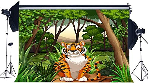 NEW Vinyl 7X5FT Zoo Backdrop Jungle Forest Backdrops Scary Tiger Green Grass Meadow Trees 3D Photography Background for Boys Kids Happy Birthday Party Decoration Wallpaper Photo Studio Prop 453