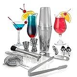 Kitchen Joy COMINHKPR125578 Set Shaker à Cocktails, Kit de Bar Professionnel en Acier Inoxdyable avec un Boston Shaker en Étain de 750ML pour des Mélanges de Boissons (12 Pièces)