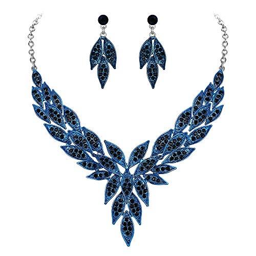 EVER FAITH Juegos de Joyas para Mujer Cristal Austríaco Boda Flor Hoja V Figura Collares Pendientes Conjunto Azul Marina Tono Plateado