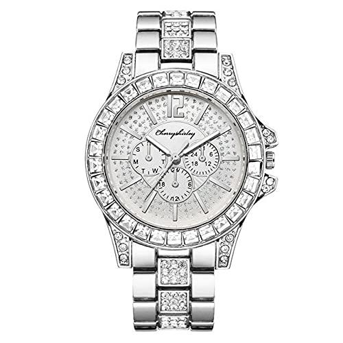 Ownlife Reloj Cinturón de Acero Mujeres Moda Vida Impermeable Reloj de Cuarzo a Prueba de Alta Gama Diamond-Studded Three-Eye Gypsophila Femenina Reloj (Color : A)