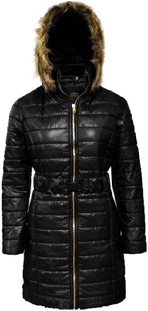 Ladies Women's Long Quilted Faux Fur Padded Hooded Jacket Coat