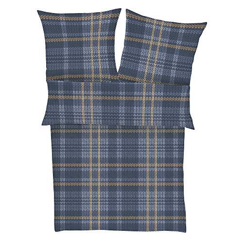 s.Oliver 6279 Bettwäsche 155x220 cm - Biberbettwäsche dunkelblau braun, 100% Baumwolle, 2 teilig mit Reißverschluss