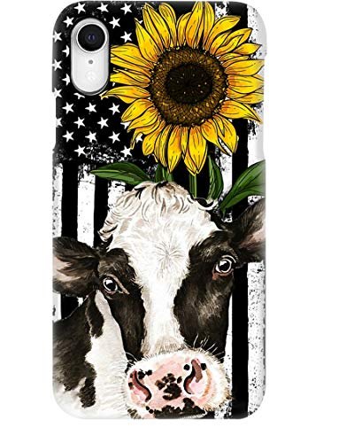 Beautiful Sunflower with Cow Phone Case for Apple iPhone - Glass Case with Unique Fashion Printed Design, Slim Fit, Anti Scratch, Shock Proof,Case Cover Compatible for iPhone,6S Plus/6 Plus
