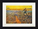 1art1 Vincent Van Gogh - Der Sämann Bei Sonnenuntergang Nach Millet, 1888 Gerahmtes Bild Mit Edlem Passepartout | Wand-Bilder | Kunstdruck Poster Im Bilderrahmen 40 x 30 cm
